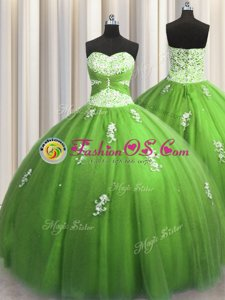 Graceful Sweetheart Sleeveless Lace Up Quinceanera Gown Yellow Green Organza