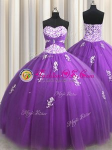 Pick Ups Pink Sleeveless Taffeta Sweep Train Lace Up Quinceanera Gowns for Military Ball and Sweet 16