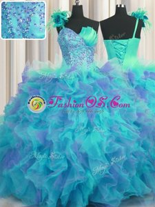 Handcrafted Flower Floor Length Multi-color Quinceanera Gown One Shoulder Sleeveless Lace Up