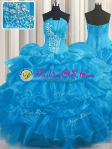 Trendy Strapless Sleeveless Organza 15th Birthday Dress Beading and Ruffles and Pick Ups Lace Up