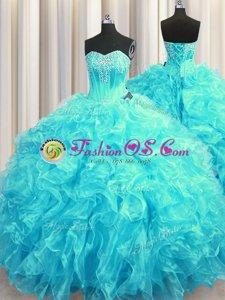 Aqua Blue Sleeveless Beading and Ruffles Lace Up Sweet 16 Quinceanera Dress