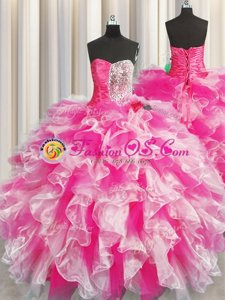 Colorful Sleeveless Beading and Ruffles and Ruching Lace Up Sweet 16 Dresses