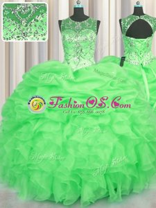 Custom Design See Through Beading and Ruffles and Pick Ups Quinceanera Dress Lace Up Sleeveless Floor Length