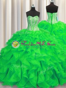 Simple Yellow Green Lace Up Sweetheart Beading and Ruffles Quinceanera Gown Organza Sleeveless