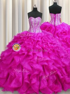 Modern Sleeveless Lace Up Floor Length Beading and Ruffles 15 Quinceanera Dress