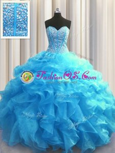 Customized Visible Boning Beading and Ruffles Quinceanera Gown Baby Blue Lace Up Sleeveless Floor Length