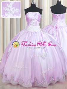 Comfortable Lilac Lace Up Strapless Beading and Appliques Quinceanera Dress Taffeta Sleeveless