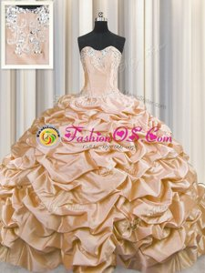 Brush Train Beading and Pick Ups Quince Ball Gowns Peach Lace Up Sleeveless Sweep Train