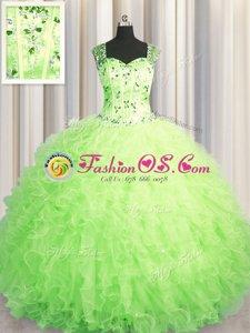 See Through Zipper Up Green Straps Zipper Beading and Ruffles Sweet 16 Dresses Sleeveless