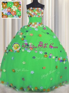 Super Green Sleeveless Hand Made Flower Floor Length Quinceanera Dress