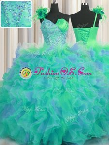 Custom Fit Handcrafted Flower One Shoulder Sleeveless Tulle Quinceanera Gowns Beading and Ruffles and Hand Made Flower Lace Up