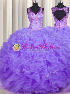 Traditional V Neck Sleeveless Beading and Appliques and Ruffles Backless Quince Ball Gowns