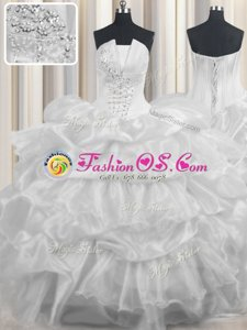 Shining Organza Strapless Sleeveless Lace Up Beading and Ruffled Layers and Pick Ups Quinceanera Dresses in White
