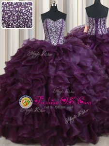Comfortable Dark Purple Sleeveless Beading and Ruffles Floor Length 15 Quinceanera Dress