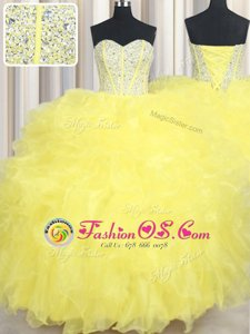 Sweetheart Sleeveless Quinceanera Dresses Floor Length Beading and Ruffles Yellow Organza