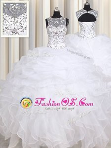 Best Selling White Lace Up Straps Beading and Ruffles Quinceanera Gowns Organza Sleeveless