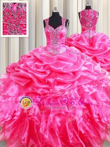 Attractive Straps Hot Pink Ball Gowns Beading and Ruffles and Pick Ups Ball Gown Prom Dress Zipper Organza Sleeveless Floor Length