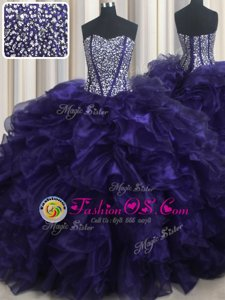 Comfortable With Train Lace Up Sweet 16 Dress Purple and In for Military Ball and Sweet 16 and Quinceanera with Beading and Ruffles Brush Train