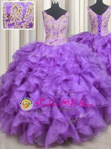 Sweetheart Sleeveless Organza Sweet 16 Dress Beading and Appliques and Ruffles Lace Up