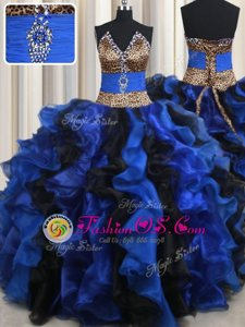 Flirting Blue And Black Organza Lace Up Strapless Sleeveless Floor Length Ball Gown Prom Dress Beading and Ruffles