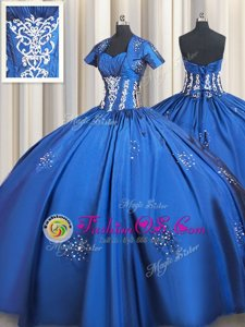 Attractive Blue Ball Gowns Beading and Appliques Vestidos de Quinceanera Lace Up Taffeta Short Sleeves Floor Length