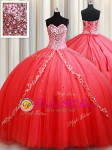 Free and Easy Coral Red Ball Gowns Sweetheart Sleeveless Tulle Floor Length Lace Up Beading and Appliques Quinceanera Gowns