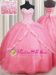 With Train Lace Up Quinceanera Dresses Watermelon Red and In for Military Ball and Sweet 16 and Quinceanera with Beading and Appliques Brush Train