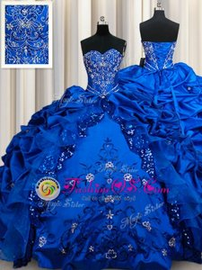 Great Sweetheart Sleeveless Quince Ball Gowns Floor Length Beading and Embroidery and Sequins and Pick Ups Royal Blue Taffeta