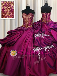 Pick Ups Sweetheart Sleeveless Lace Up Quinceanera Gown Fuchsia Taffeta