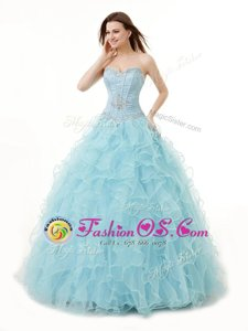 Comfortable Light Blue Lace Up Sweetheart Beading and Ruffles Quinceanera Dresses Organza Sleeveless