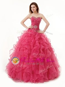 Edgy Sleeveless Beading and Ruffles Lace Up Quince Ball Gowns
