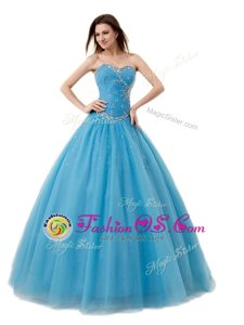 Baby Blue A-line Tulle Sweetheart Sleeveless Beading and Ruching Floor Length Lace Up Quinceanera Dresses