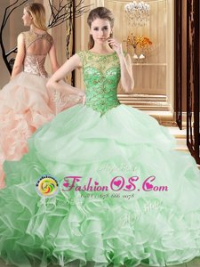 Apple Green Organza Lace Up Scoop Sleeveless Sweet 16 Dress Brush Train Beading and Ruffles and Pick Ups