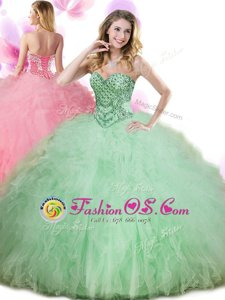 Apple Green Tulle Lace Up Vestidos de Quinceanera Sleeveless Floor Length Beading and Ruffles