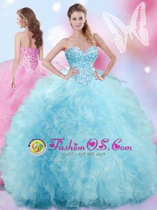 Sleeveless Tulle Floor Length Lace Up Sweet 16 Dresses in Baby Blue for with Beading and Ruffles