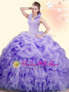 Modern Pick Ups High-neck Sleeveless Brush Train Backless Quinceanera Dress Lavender Organza