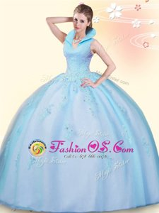 Custom Design High-neck Sleeveless Tulle Vestidos de Quinceanera Beading and Ruffles Backless