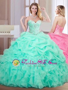 Apple Green Ball Gowns Sweetheart Sleeveless Organza Floor Length Lace Up Beading and Ruffles and Pick Ups Sweet 16 Dresses