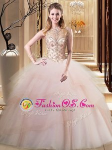 Scoop Lace Up Vestidos de Quinceanera Peach and In for Military Ball and Sweet 16 and Quinceanera with Beading and Ruffled Layers Brush Train