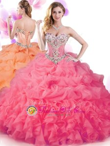 Sleeveless Floor Length Beading and Ruffles and Pick Ups Lace Up Sweet 16 Quinceanera Dress with Hot Pink