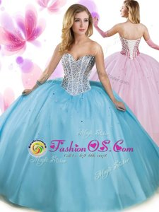 Sleeveless Beading and Ruffles Lace Up Quinceanera Dresses with Blue Brush Train