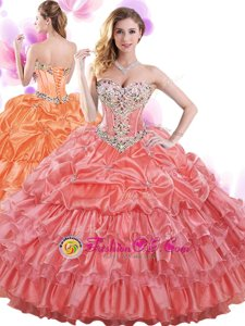 Floor Length Lace Up Quinceanera Dresses Watermelon Red and In for Military Ball and Sweet 16 and Quinceanera with Beading and Ruffled Layers and Pick Ups