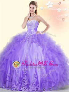 Flare Sleeveless Floor Length Beading and Appliques and Ruffles Lace Up Sweet 16 Dress with Lavender