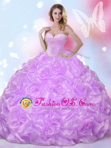 Fashionable Sweetheart Sleeveless Fabric With Rolling Flowers 15 Quinceanera Dress Beading Lace Up