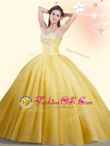 Affordable Gold Quinceanera Dresses Military Ball and Sweet 16 and Quinceanera and For with Beading Sweetheart Sleeveless Lace Up