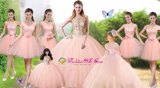 Peach Tulle Lace Up Sweet 16 Quinceanera Dress Sleeveless Floor Length Beading