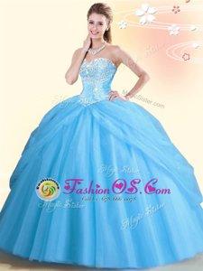 Enchanting Sleeveless Lace Up Floor Length Beading Sweet 16 Dress