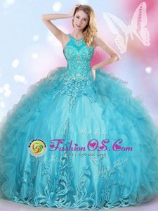Halter Top Sleeveless Beading and Appliques Lace Up Quinceanera Dress