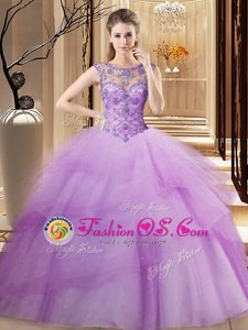 Dazzling Ruffled Lilac 15 Quinceanera Dress Scoop Sleeveless Brush Train Lace Up
