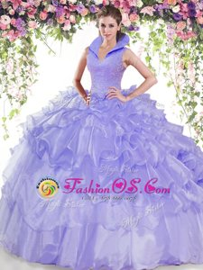 Ruffled High-neck Sleeveless Backless Quinceanera Dresses Lavender Organza